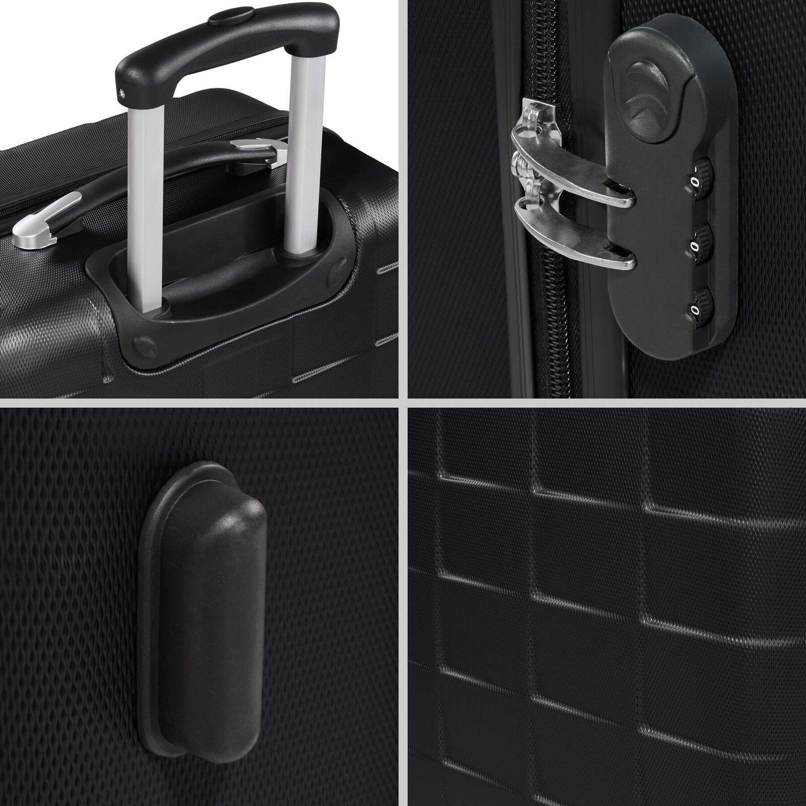 Set de 3 valises de voyage coque ABS léger rigide bagages valise trolley noir 5