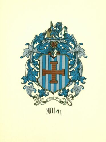 *Great Coat of Arms Allen (#1)  Family Crest genealogy, would look great framed!