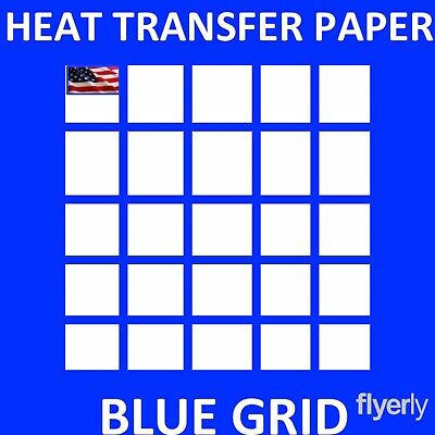 Iron On Inkjet Opaque Heat Transfer Paper For Dark Fabrics -blue Grid- 100 Sh A