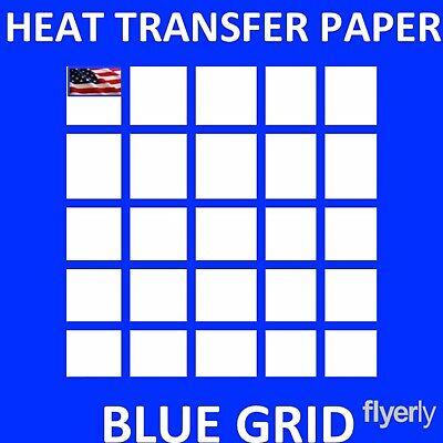Iron On Inkjet Opaque Heat Transfer Paper For Dark Fabrics -blue Grid- 50 Sh A