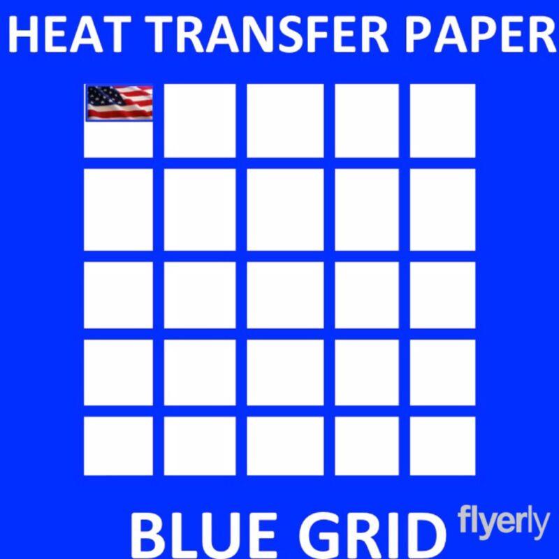 "Inkjet Printable Heat Transfer Paper for Dark Fabrics Blue Grid 50 Sh 8.5""x11"""