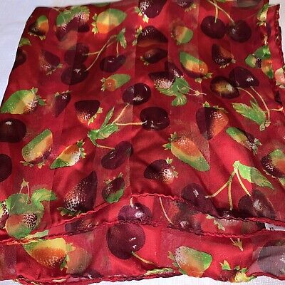 """Vintage Scarf Styles -1920s to 1960s Vtg PREVIEW COLLECTION Scarf Cherry strawberry 100% Silk 20"""" Md. in Italy Summer $18.00 AT vintagedancer.com"""