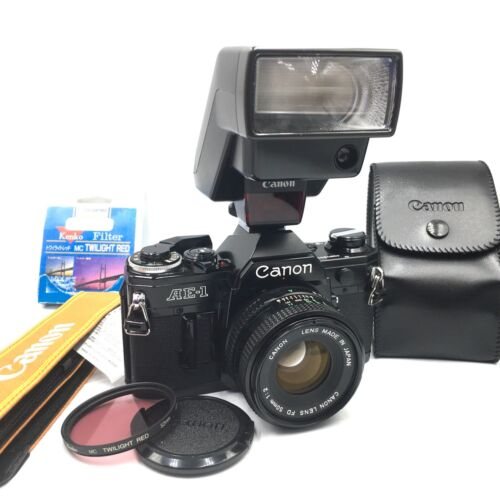 [MINT+++] CANON AE-1  35mm SLR Film Camera with FD 50/F2  from JAPAN  NICE SET!!