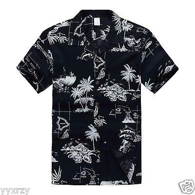 Men Aloha Shirt Cruise Tropical Luau Beach Hawaiian Party Navy Map Palm Island (Hawaiian Shirt Party)