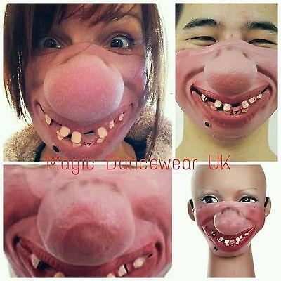 Halloween Clown Mask Hillbilly Teeth Big Nose Latex Geek Costume Half Face Stag  - Hillbilly Halloween Costume