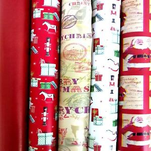 Set Of 5 Random Luxury Christmas Xmas Present Wrapping Paper Gift Wrap Roll