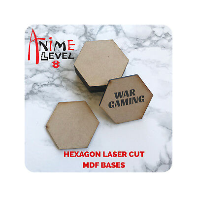 - MDF Wooden Bases Hexagon hex Multiple Sizes 3mm Thick Custom Laser Cut games
