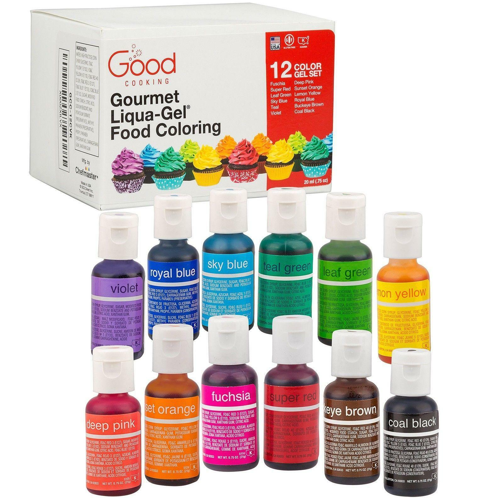 Food Coloring Liqua-gel 12 Color Variety Kit in 75 FL Oz. 20ml ...