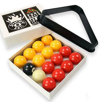 Jonny 8 Ball 38mm 1 1/2 Inch Economy RED AND YELLOW Pool Balls WITH TRIANGLE