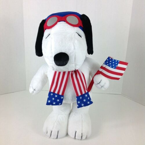 "Peanuts Aviator Snoopy 4th Of July Plush Porch Door Greeter Patriotic 19"" New"