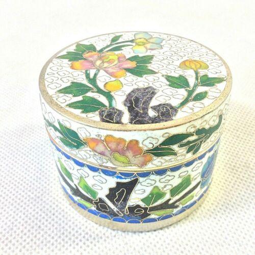 CHINESE CLOISONNE TRINKET JEWELRY ART BOX LID MULTI COLOR FLORAL CLOUD DESIGN