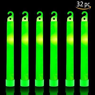 32 Camping Emergency Survival Glow Sticks - 6 Inch Ultra Bright Chem Light Stick