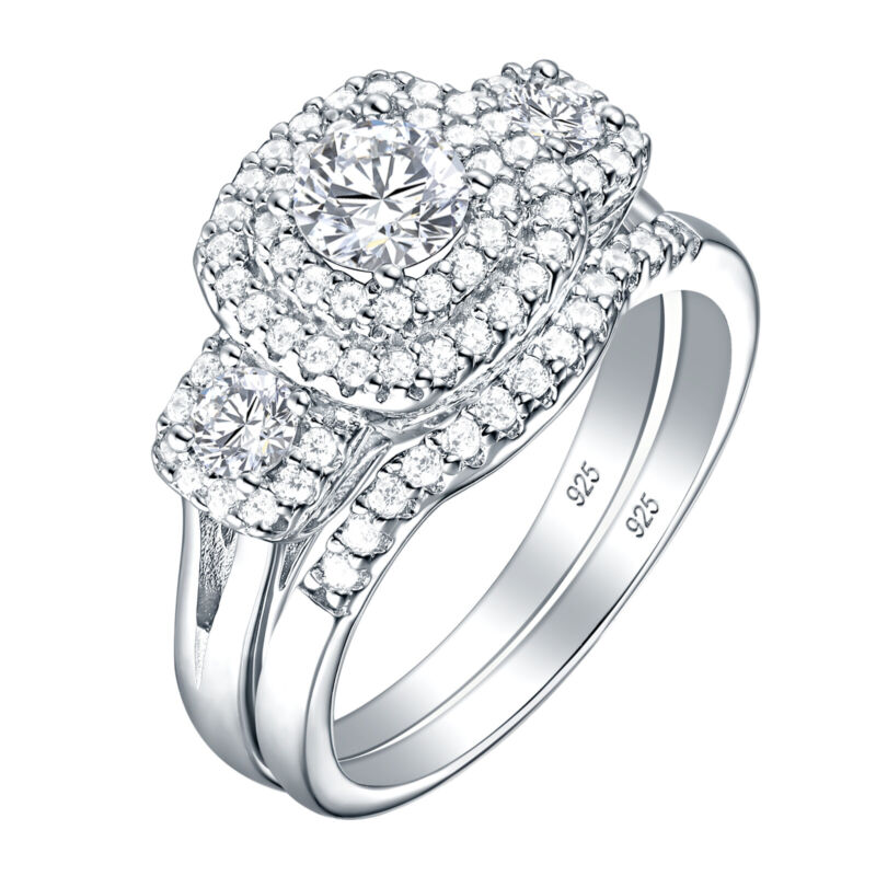 Engagement Ring Wedding Set For Women 1.3ct Round Cz 925 Sterling Silver 5-10