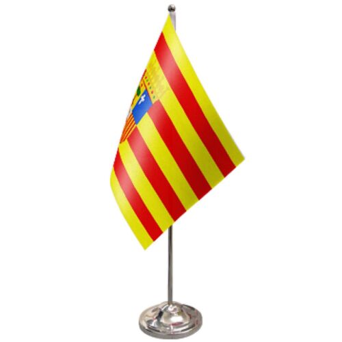 Spain Aragon Satin & Chrome Premium Table Flag
