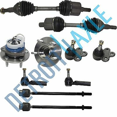 2 Front CV Axle Shaft 2 Lower Ball Joint 4 Tie Rods 2 Wheel Hub Bearing w/ ABS