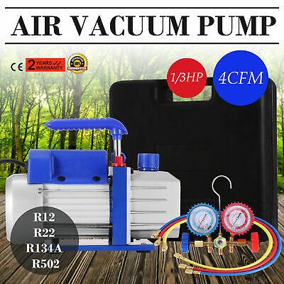 4cfm 13hp Air Vacuum Pump Hvac Refrigeration Ac Manifold Gauge Set R134a Kit