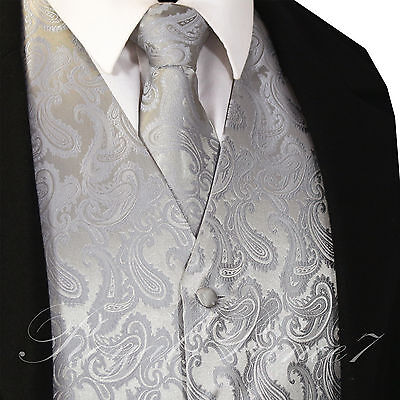 20-D SILVER XS - 6XL Paisley Tuxedo Suit Dress Vest Waistcoat & Neck tie Wedding](Silver Vest)