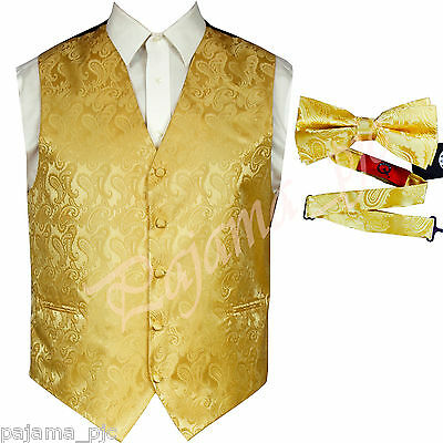 GOLD  XS to 6XL Paisley Tuxedo Suit Dress Vest Waistcoat & and Bow tie Wedding - Gold Tux
