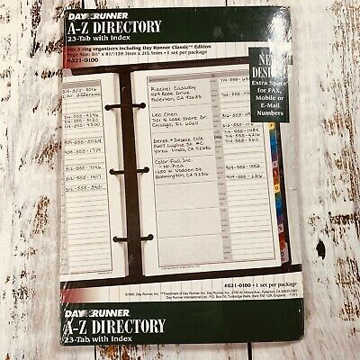 1996 Day Runner A-z Telephone Address Directory 23 Tab Index 3 Ring 5.5 X 8.5