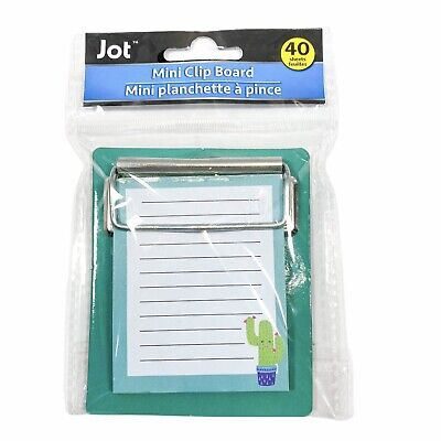 Jot Colorful Green Cactus Mini Clipboard With Notepad 40 Sheets 3.25 X 3.50