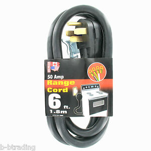 50A 4 Wire 6 Ft 125/250V NEMA 14-50 125/250V Range Replacement Power Cord UL
