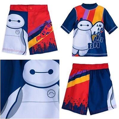 Disney Store Baymax Big Hero 6 Boy Swimsuit Rash Guard Sword Shirt Trunks NEW - Big Hero 6 Boy