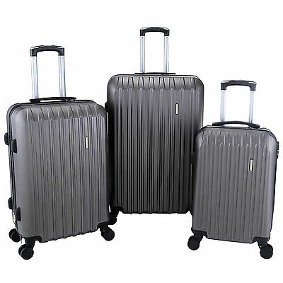 Luggage Travel 3Pcs Grey Suitcase Set Trolley w/TSA Lock & ABS Spinners