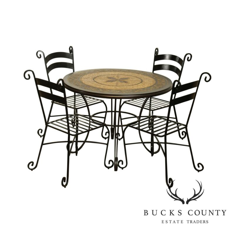 Quality Wrought Iron Five Piece Dining Bistro Set, Round Table & 4 Chairs