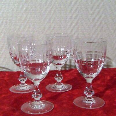 4 Bicchieri da Vino Bianco IN Cristallo Di Valvole La Châtel, Intagliato Durance