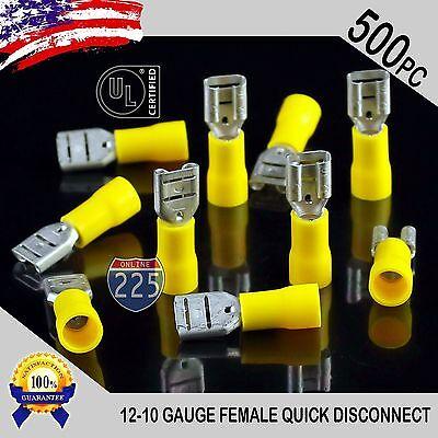 500 Pack 12-10 Gauge Female Quick Disconnect Yellow Vinyl Crimp Terminals .250