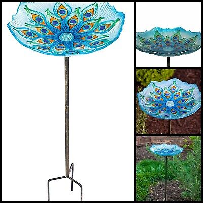 Peacock Glass Bird Bath Bowl With Detachable 2 Piece Metal Stake  Easy to Clean