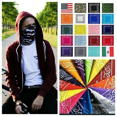 Paisley BANDANA Face Mask Head Wear Cotton USA Biker Scarf Neck Gaiter Head -