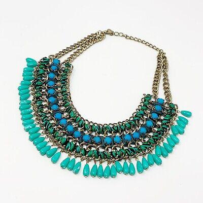 "Zara Statement Bib Necklace Blue Gold Tone Choker Fringe Boho Chunky 18"""