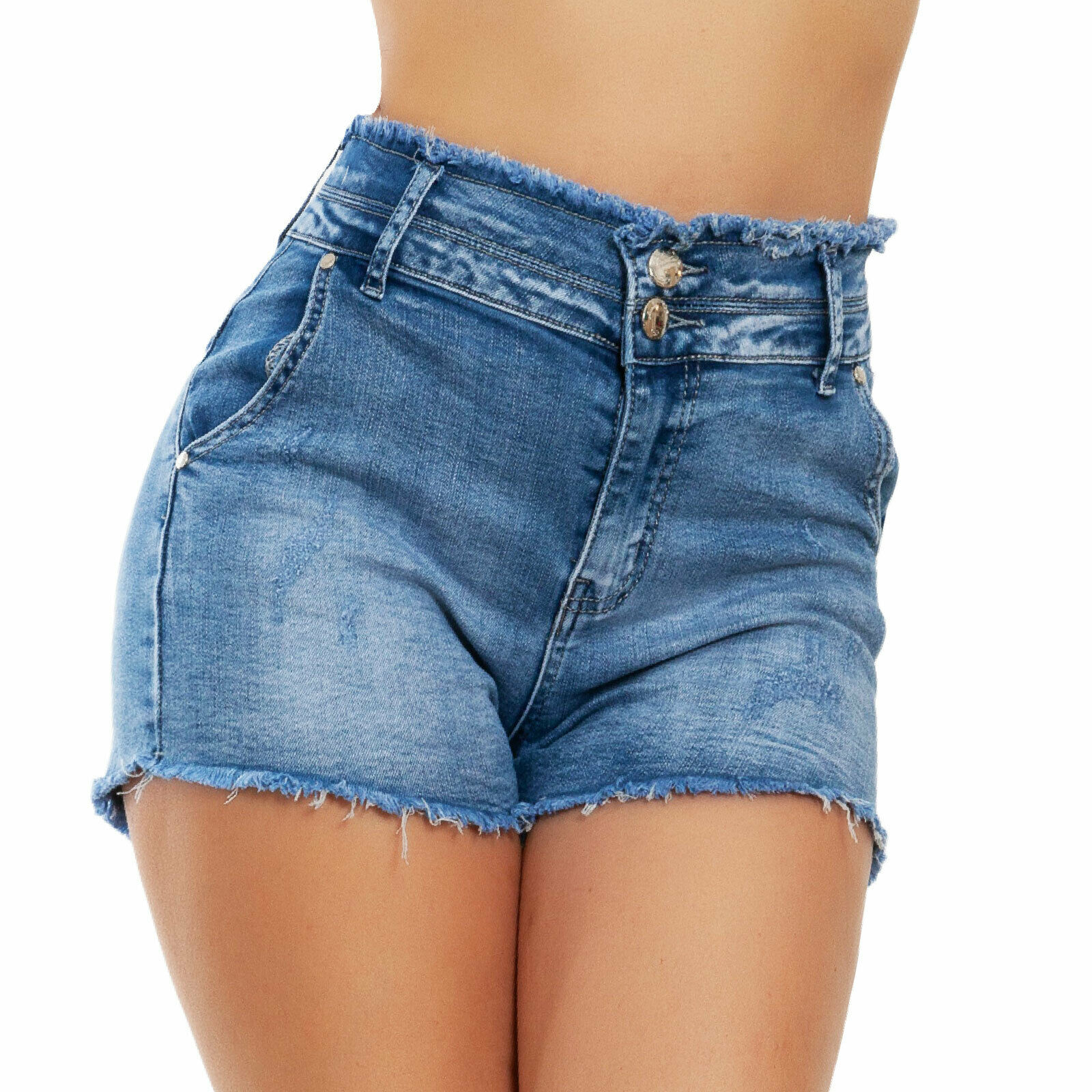 comprare on line 70297 3a1ab Dettagli su Pantaloncini donna jeans shorts hot pants vita alta sfrangiati  TOOCOOL VI-1837