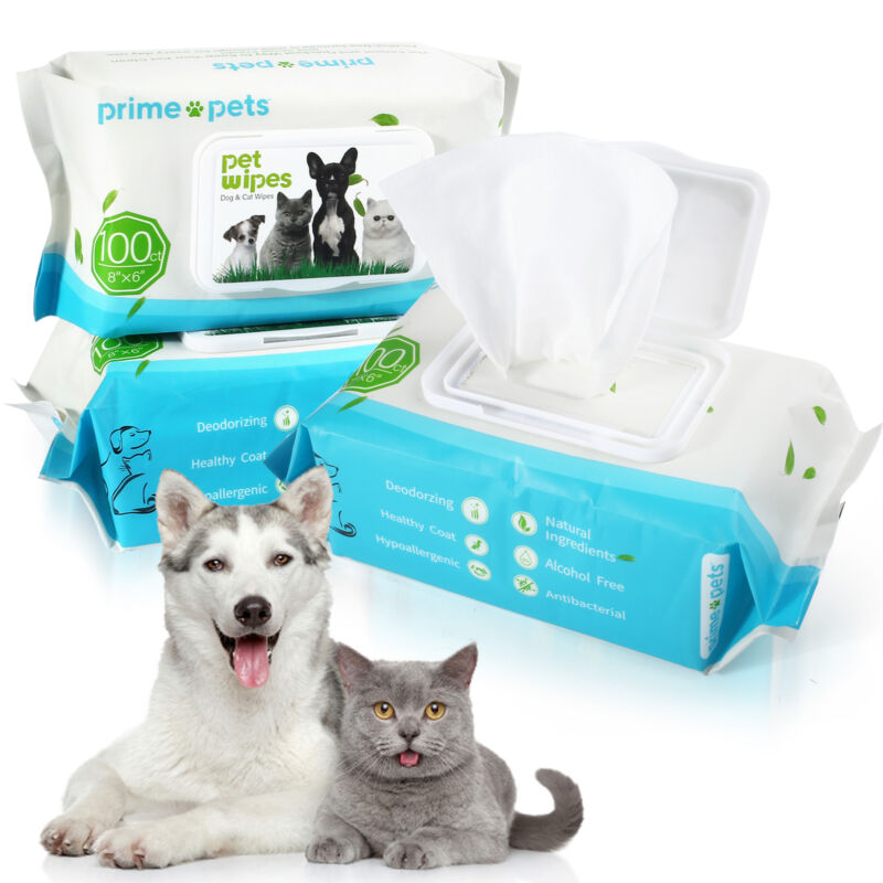300 pcs Pet Wipes for Dog Puppy Cat Bath Clean Grooming Deodorizing Moisturizing