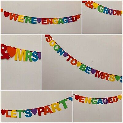 Personalised LGBT Engagement Party Banner Decorations hen do Rainbow bunting
