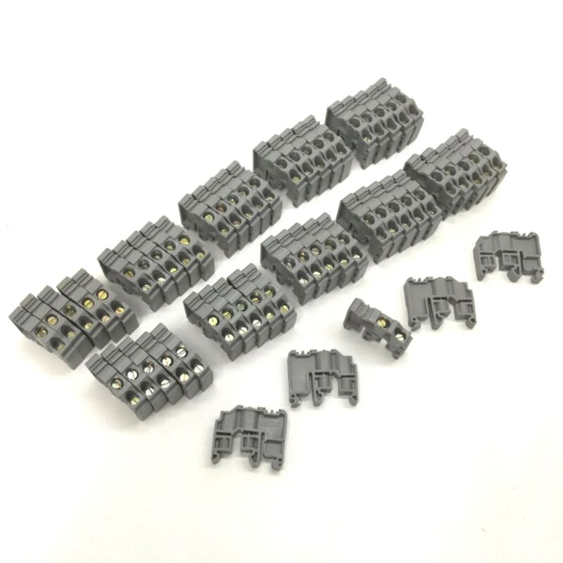 Lot of 55 Entrelec B1 B2 B3 B4 C1 C2 C3 C4 End Bracket Stop Clamp Terminal Block