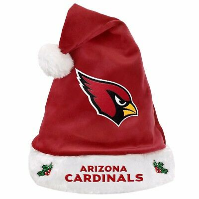 Arizona Cardinals Team Logo Holiday Plush Santa Hat NEW! Christmas Solid Red