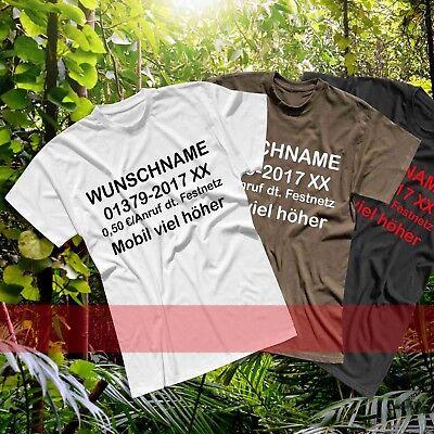 Kostüm Dschungel (T-Shirt Dschungelcamp Wunschname Telefonnummer Kostüm JGA 13 Farben Men XS - 5XL)