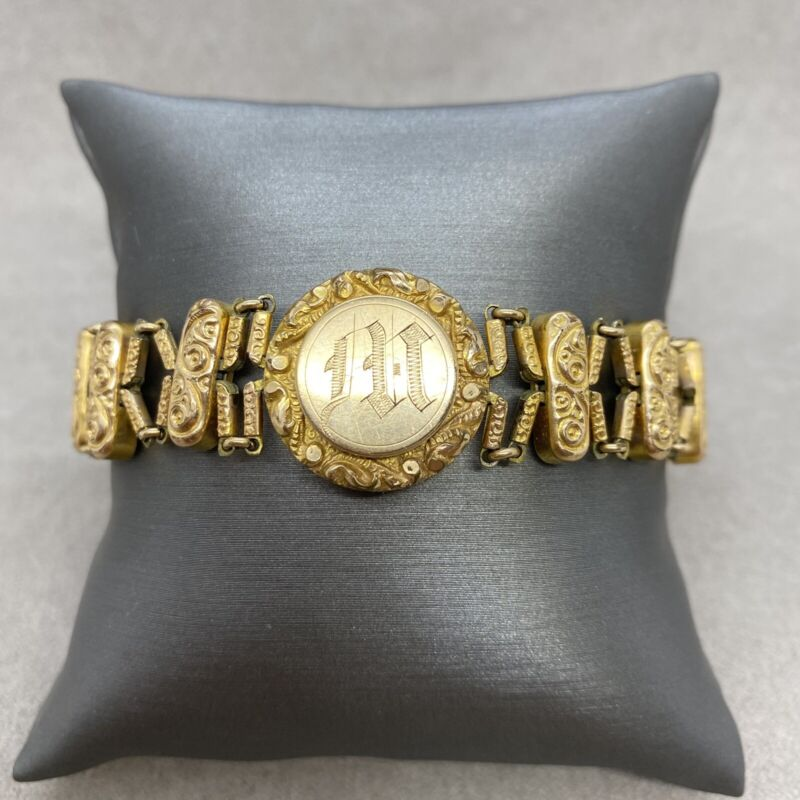 Antique EARLY Pat 1905 Sweetheart Expansion Bracelet Large Size Band Monogram M