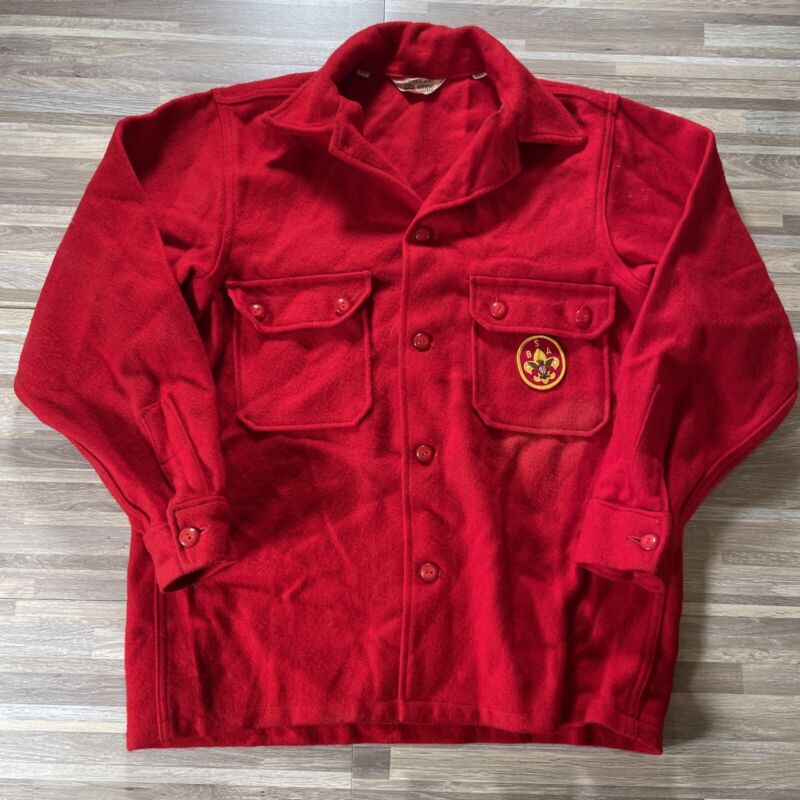 Vintage Boy Scout of America red flannel wool jacket shirt sz 42