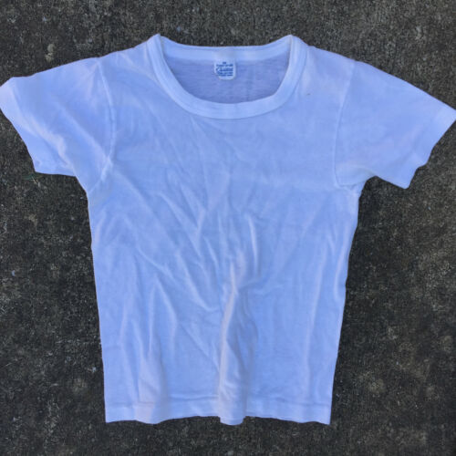 Vintage 50s 60s Kids Youth Boys Childrens Childs Blank White Distressed T Shirt