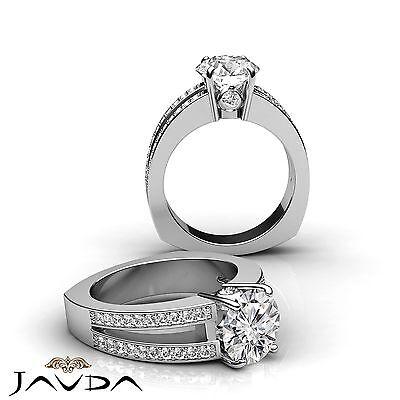 European Split Shank Pave Bezel Round Diamond Engagement Ring GIA G VS2 1.35 Ct