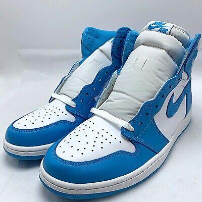 Nike Air Jordan 1 Retro High OG Men's Shoes White/Dark Powder Blue (Dark Powder Blue)