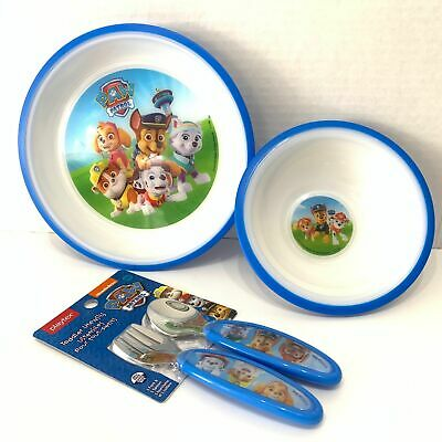 Playtex Paw Patrol Baby Feeding Set Bowl, Plate, and Utensils New Never Used