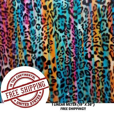 Hydrographic Water Transfer Hydrodipping Film Hydro Dip Rainbow Cheetah 1m