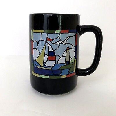 Otagiri Japan Stain Glass Coffee Cup Mug Dark Blue