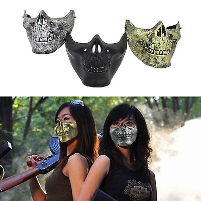 Bike Costume Halloween (Costume Halloween Party Airsoft Skull Mask Motorcycle Skeleton Half Face)