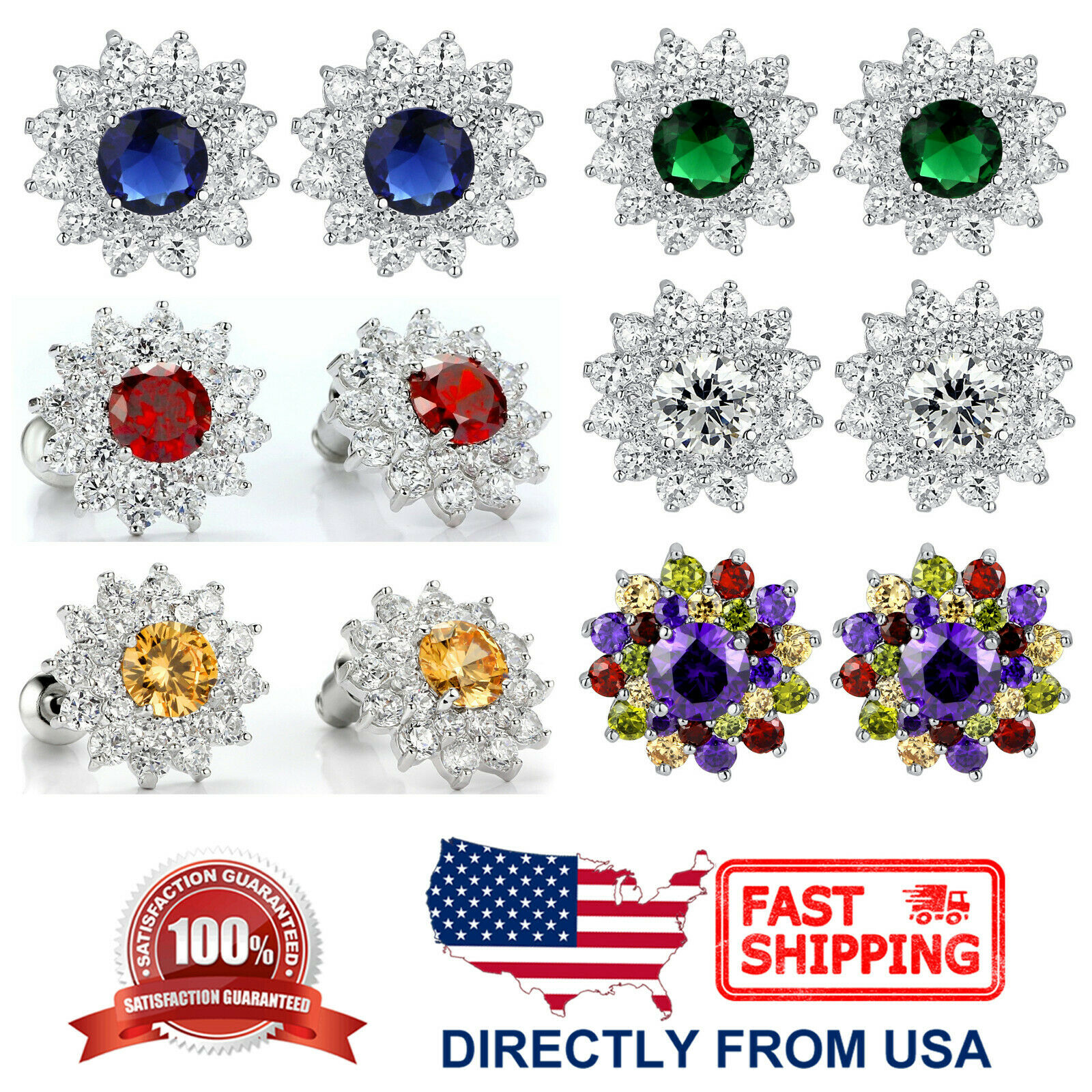 Women's Sunflower Cubic Zirconia and Crystal White Gold Plated Stud Earrings Earrings