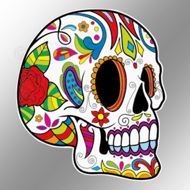Funny car bumper sticker sugar skull profile day of the dead 88 x 100 mm decal